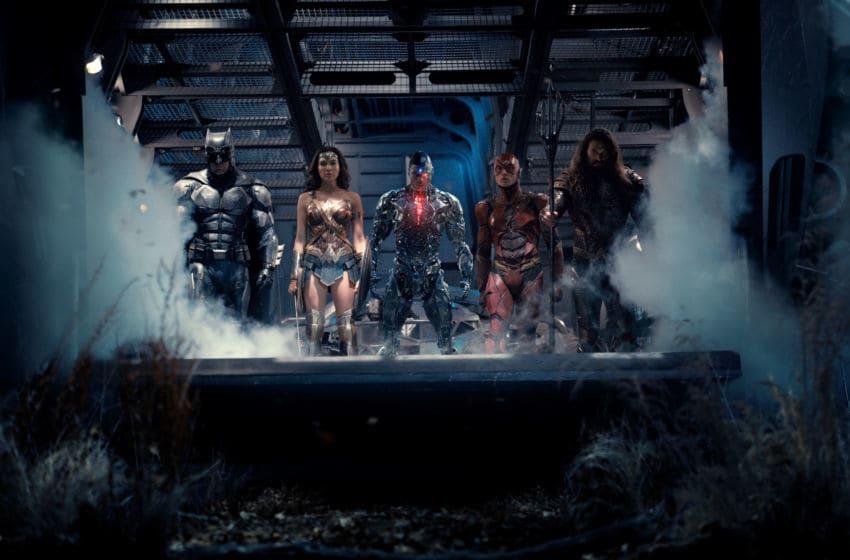 Photo: Ben Affleck, Jason Momoa, Gal Gadot, Ezra Miller, and Ray Fisher in Justice League (2017).. Image Courtesy Warner Bros. Entertainment