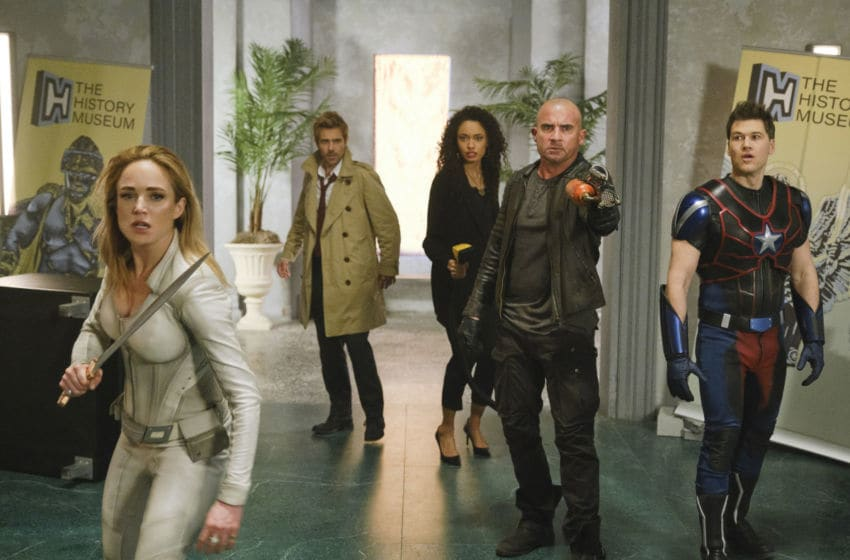Caity Lotz as Sara Lance/White Canary, Matt Ryan as Constantine, Olivia Swan as Astra, Dominic Purcell as Mick Rory/Heatwaveand Nick Zano as Nate Heywood/Steel in DC's Legends of Tomorrow --