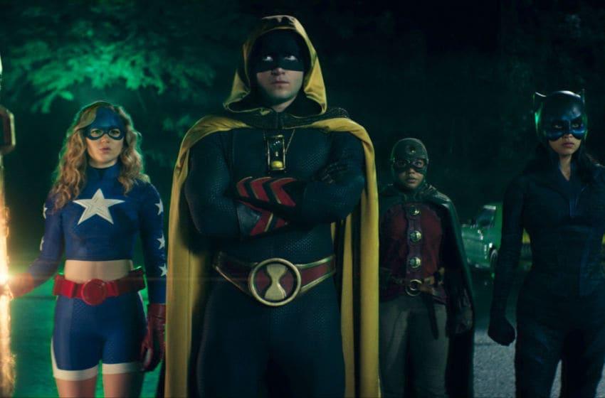 Brec Bassinger as Stargirl, Cameron Gellman as Hourman, Anjelika Washington as Dr. Mid-Nite and Yvette Monreal as Wildcat in Stargirl --
