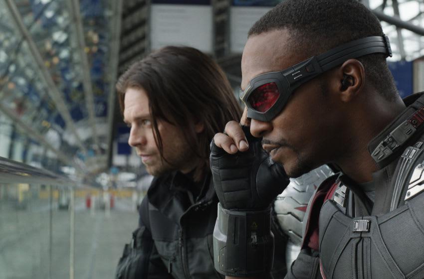 Marvel's Captain America: Civil War..L to R: Winter Soldier/Bucky Barnes (Sebastian Stan) and Sam Wilson/Falcon (Anthony Mackie)..Photo Credit: Film Frame..© Marvel 2016