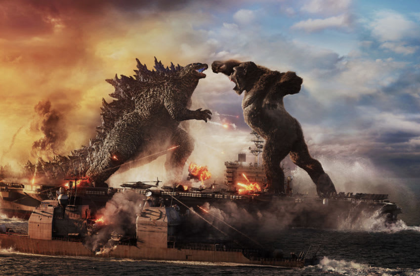 """(L-r) GODZILLA battles KONG in Warner Bros. Pictures' and Legendary Pictures' action adventure """"GODZILLA VS. KONG,"""" a Warner Bros. Pictures and Legendary Pictures release. © 2021 LEGENDARY AND WARNER BROS. ENTERTAINMENT INC. ALL RIGHTS RESERVED. GODZILLA TM & © TOHO CO., LTD."""