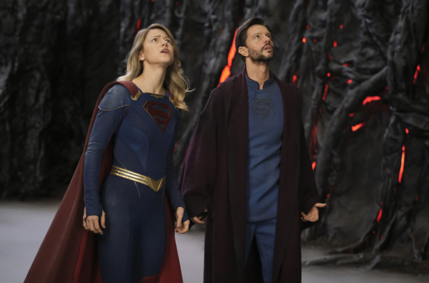 """Supergirl -- """"Fear Knot"""" -- Image Number: SPG607a_0120r.jpg_ -- Pictured (L-R): Melissa Benoist as Supergirl and Jason Behr as Zor-El— Photo: Bettina Strauss/The CW -- © 2021 The CW Network, LLC. All Rights Reserved."""