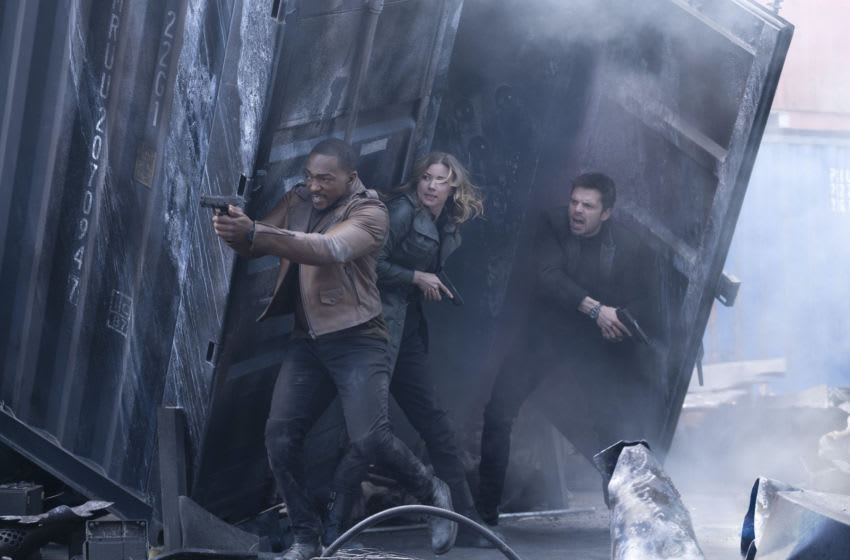 (L-R): Falcon/Sam Wilson (Anthony Mackie), Sharon Carter/Agent 13 (Emily Van Camp) and Winter Soldier/Bucky Barnes (Sebastian Stan) in Marvel Studios' THE FALCON AND THE WINTER SOLDIER. Photo by Chuck Zlotnick. ©Marvel Studios 2021. All Rights Reserved.