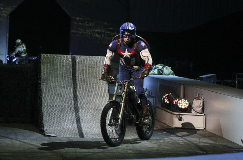 MEXICO CITY, MEXICO - APRIL 15: Captain America character performs during a preview session of 'Marvel Universe Live' at Palacio de los Deportes on April 15, 2019 in Mexico City, Mexico. (Photo by Medios y Media/Getty Images)