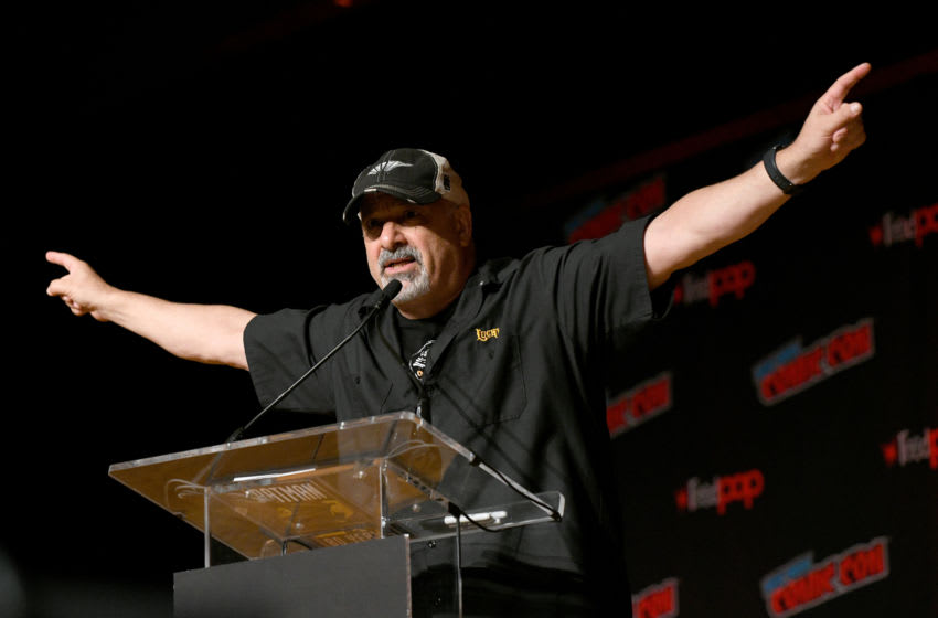 NEW YORK, NEW YORK - OCTOBER 04: Dan DiDio speaks onstage during the DC Nation panel during New York Comic Con 2019 - Day 2 at Jacobs Javits Center on October 04, 2019 in New York City. (Photo by Bryan Bedder/Getty Images for ReedPOP)