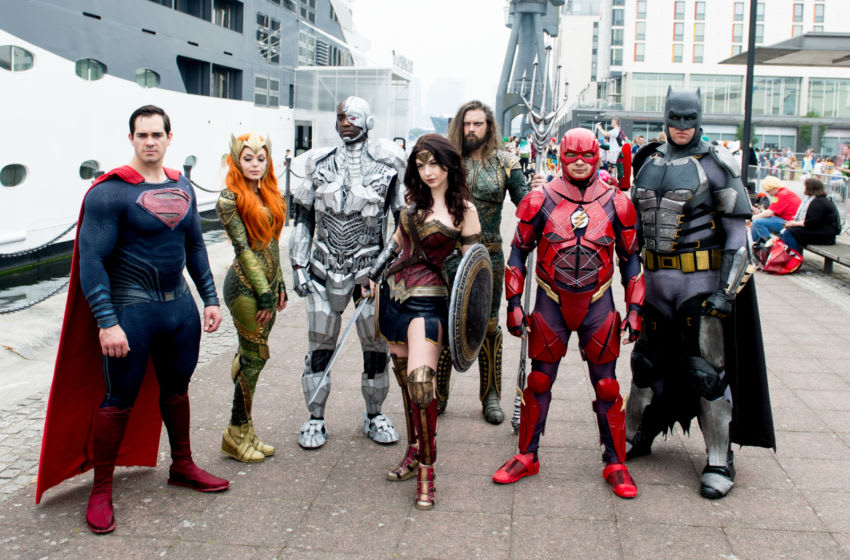 LONDON, ENGLAND - MAY 27: A cosplay group seen in character as Batman, Aquaman, Mera, Wonder Woman, The Flash and Cyborg from The Justice League on Day 3 of of the MCM London Comic Con 2018 at ExCel on May 27, 2018 in London, England. (Photo by Ollie Millington/Getty Images)