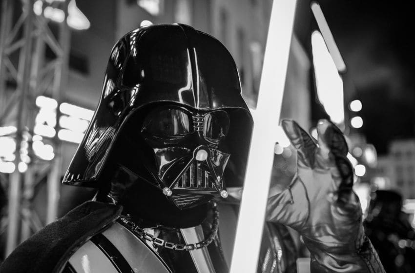 LONDON, ENGLAND - DECEMBER 18: (EDITORS NOTE: Image has been converted to black and white) Darth Vader at the European premiere of