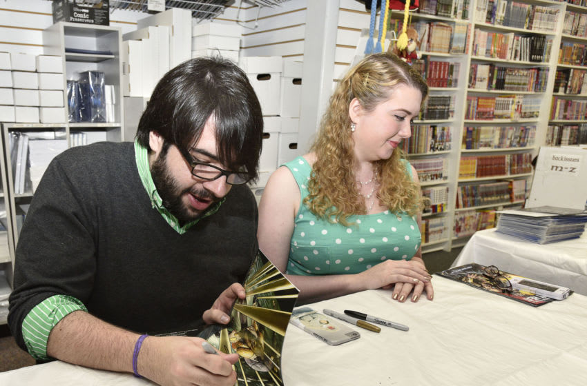 SMITHTOWN, NY - MAY 02: Batman Eternal Writer, James Tynion IV and Earth 2: World's End writer Marguerite Bennett, Signing For DC Comics Free Comic Book Day Special Issue at Fourth World Comics on May 2, 2015 in Smithtown, New York. (Photo by Eugene Gologursky/Getty Images for DC Entertainment)