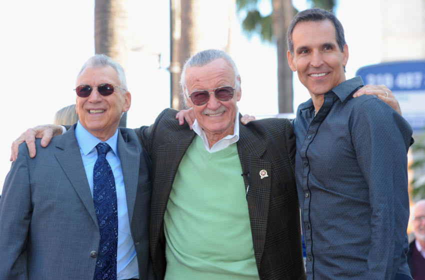 HOLLYWOOD, CA - JANUARY 04: President and COO of POW! Entertainment Gill Champion, comic book legend Stan Lee and Spawn creator Todd McFarlane attend a ceremony honoring Stan Lee with the 2,428th star on the Hollywood Walk of Fame on January 4, 2011 in Hollywood, California. (Photo by Alberto E. Rodriguez/Getty Images)