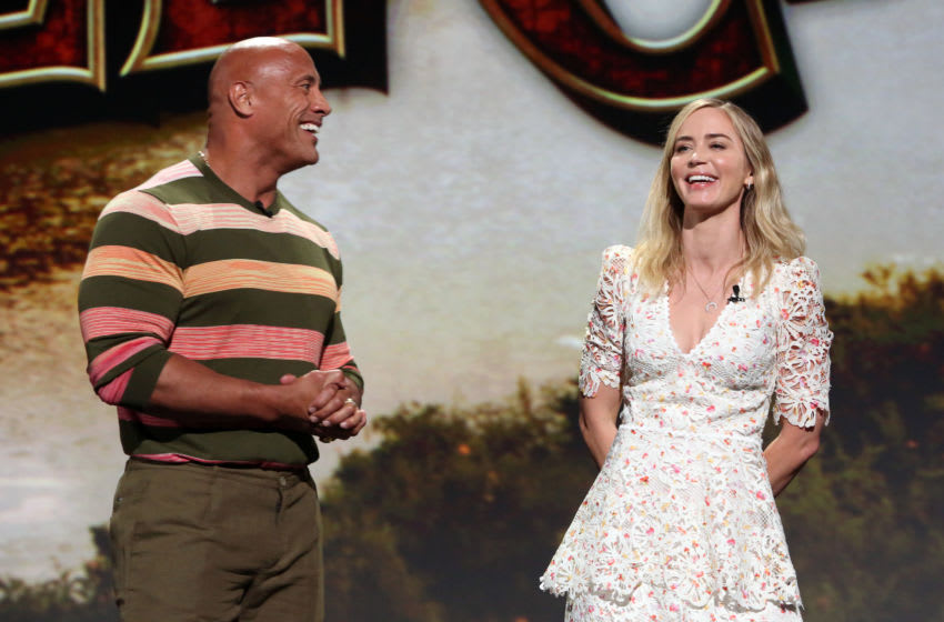 ANAHEIM, CALIFORNIA - AUGUST 24: (L-R) Dwayne Johnson and Emily Blunt of 'Jungle Cruise' took part today in the Walt Disney Studios presentation at Disney's D23 EXPO 2019 in Anaheim, Calif. 'Jungle Cruise' will be released in U.S. theaters on July 24, 2020. (Photo by Jesse Grant/Getty Images for Disney)