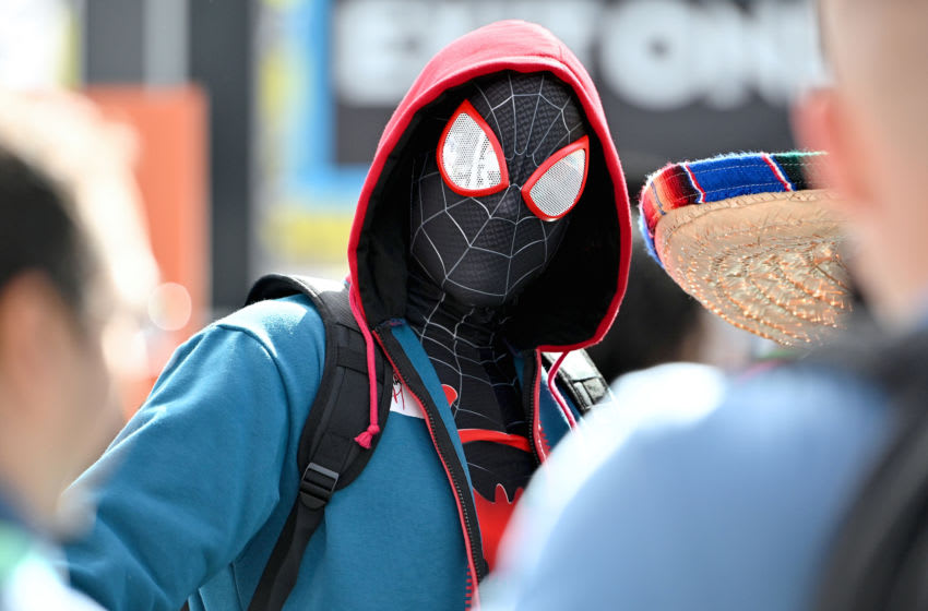 NEW YORK, NEW YORK - OCTOBER 04: A cosplayer dressed as Miles Morales Spider-Man attends New York Comic Con 2019 - Day 2 at Jacobs Javits Center on October 04, 2019 in New York City. (Photo by Dia Dipasupil/Getty Images for ReedPOP )