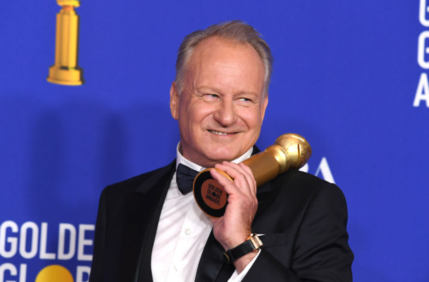 BEVERLY HILLS, CALIFORNIA - JANUARY 05: Stellan Skarsgård, winner of Best Performance by an Actor In a Supporting Role In a series, Limited Series or Motion Picture Made For Television, poses in the press room during the 77th Annual Golden Globe Awards at The Beverly Hilton Hotel on January 05, 2020 in Beverly Hills, California. (Photo by Kevin Winter/Getty Images)