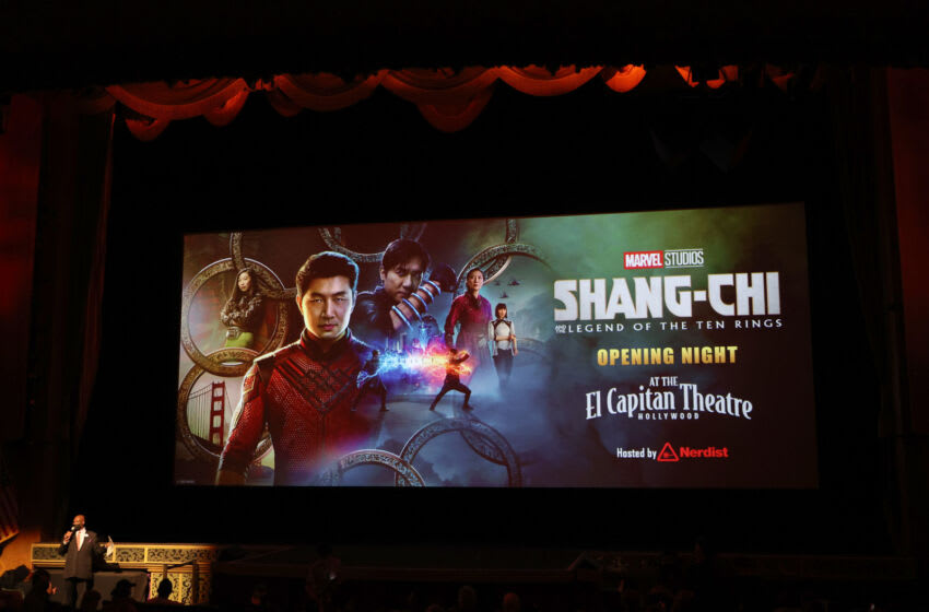 LOS ANGELES, CALIFORNIA - SEPTEMBER 02: The theatre screen is shown at a special screening Marvel Studio's