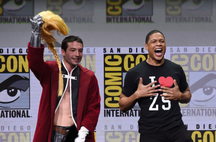 SAN DIEGO, CA - JULY 22: Actors Ezra Miller (L) and Ray Fisher attend the Warner Bros. Pictures