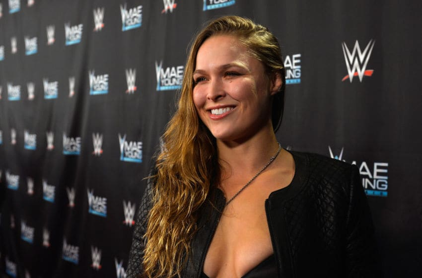 LAS VEGAS, NV - SEPTEMBER 12: MMA fighter Ronda Rousey appears on the red carpet of the WWE Mae Young Classic on September 12, 2017 in Las Vegas, Nevada. (Photo by Bryan Steffy/Getty Images for WWE)