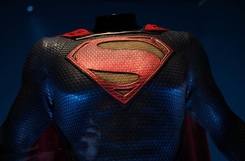 LONDON, ENGLAND - FEBRUARY 22: A Superman costume from the 2013 Man of Steel film worn by Henry Cavill and designed by Michael Wilkinson and James Acheson is on display at the DC Comics Exhibition: Dawn Of Super Heroes at the O2 Arena on February 22, 2018 in London, England. The exhibition, which opens on February 23rd, features 45 original costumes, models and props used in DC Comics productions including the Batman, Wonder Woman and Superman films. (Photo by Jack Taylor/Getty Images)