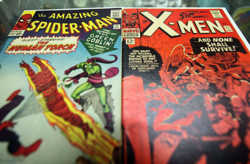 NEW YORK - AUGUST 31: In this photo illustration, vintage Spider Man and X-Men Marvel comic books are seen at St. Mark's Comics August 31, 2009 in New York City. The Walt Disney Co. announced that it plans to acquire Marvel Entertainment Inc. for $4 billion in stock and cash, bringing 5,000 Marvel characters including Spider Man and Incredible Hulk under the Disney umbrella. (Photo Illustration by Mario Tama/Getty Images)