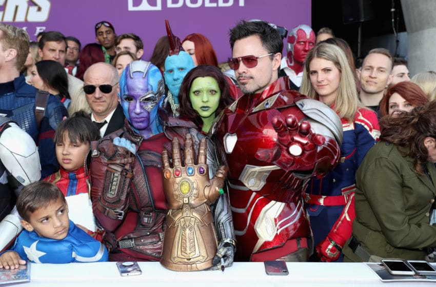 LOS ANGELES, CA - APRIL 22: Fans in cosplay attend the Los Angeles World Premiere of Marvel Studios'