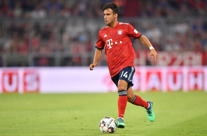 MUNICH, GERMANY - AUGUST 05: Juan Bernat of Bayern Muenchen plays the ball during the friendly match between Bayern Muenchen and Manchester United at Allianz Arena on August 5, 2018 in Munich, Germany. (Photo by Sebastian Widmann/Bongarts/Getty Images)