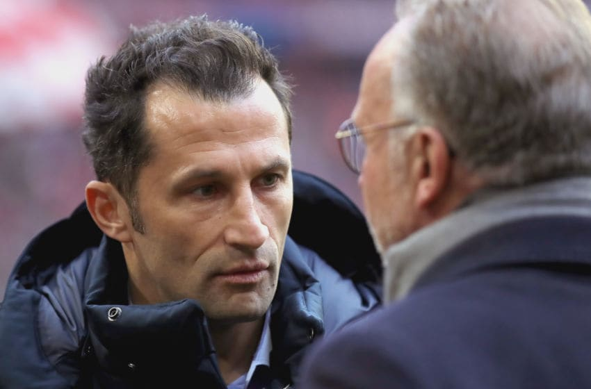 MUNICH, GERMANY - NOVEMBER 24: Hasan Salihamidzic, Sporting director of Bayern Muenchen talks to Karl-Heinz Rummenigge, CEO of Bayern Muenchen prior to the Bundesliga match between FC Bayern Muenchen and Fortuna Duesseldorf at Allianz Arena on November 24, 2018 in Munich, Germany. (Photo by Alexander Hassenstein/Bongarts/Getty Images)