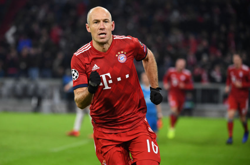 27 November 2018, Bavaria, München: Soccer: Champions League, Bayern Munich - Benfica Lisbon, Group stage, Group E, 5th matchday in Munich Olympic Stadium. Munich goal scorer Arjen Robben cheers about the 1:0. Photo: Sven Hoppe/dpa (Photo by Sven Hoppe/picture alliance via Getty Images)