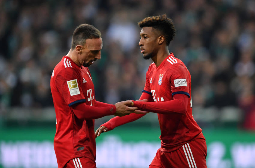 BREMEN, GERMANY - DECEMBER 01: Kingsley Coman of Bayern Munich replaces Franck Ribery of Bayern Munich during the Bundesliga match between SV Werder Bremen and FC Bayern Muenchen at Weserstadion on December 1, 2018 in Bremen, Germany. (Photo by Stuart Franklin/Bongarts/Getty Images)