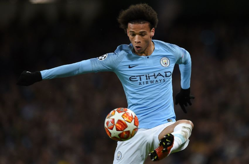 Manchester City's German midfielder Leroy Sane controls the ball during the UEFA Champions League round of 16 second leg football match between Manchester City and Schalke 04 at the Etihad Stadium in Manchester, north west England, on March 12, 2019. (Photo by Oli SCARFF / AFP) (Photo credit should read OLI SCARFF/AFP via Getty Images)