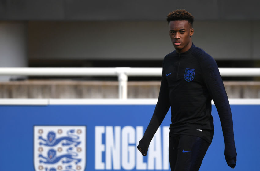 England's Callum Hudson-Odoi during the training session at St George's Park, Burton. (Photo by Joe Giddens/PA Images via Getty Images)