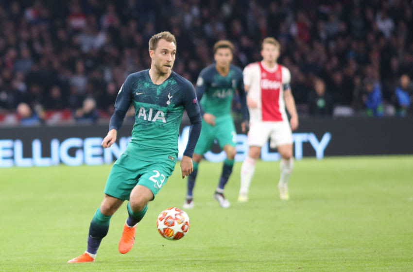 AMSTERDAM, NETHERLANDS - MAY 08: Christian Eriksen of Tottenham Hotspur controls the ball during the UEFA Champions League Semi Final second leg match between Ajax and Tottenham Hotspur at the Johan Cruyff Arena on May 8, 2019 in Amsterdam, Netherlands. (Photo by TF-Images/Getty Images)
