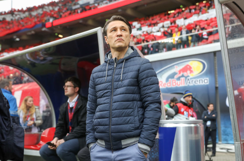 11 May 2019, Saxony, Leipzig: Soccer: Bundesliga, 33rd matchday, RB Leipzig - Bayern Munich in the Red Bull Arena Leipzig. Munich coach Niko Kovac is about to play in the stadium. Photo: Jan Woitas/dpa-Zentralbild/dpa - IMPORTANT NOTE: In accordance with the requirements of the DFL Deutsche Fußball Liga or the DFB Deutscher Fußball-Bund, it is prohibited to use or have used photographs taken in the stadium and/or the match in the form of sequence images and/or video-like photo sequences. (Photo by Jan Woitas/picture alliance via Getty Images)