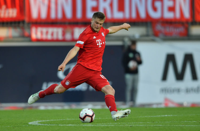 WOLFSBURG, GERMANY - MAY 22: Lars Lukas Mai of Muenchen kicks the ball during the Third League Playoff First Leg match between VfL Wolfsburg II v Bayern Muenchen II at AOK-Stadion on on May 22, 2019 in Wolfsburg, Germany. (Photo by Thomas F. Starke/Bongarts/Getty Images)