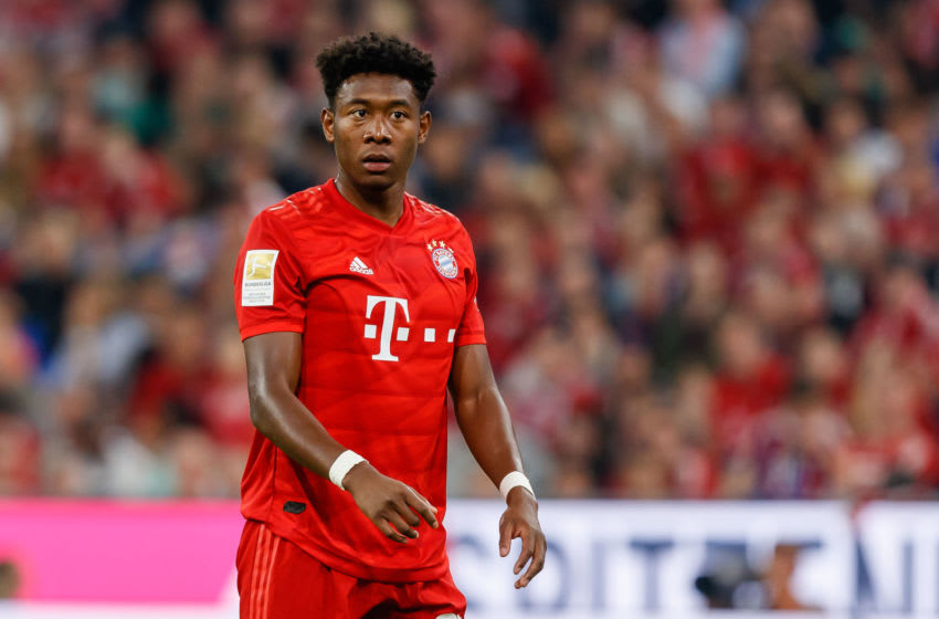 MUNICH, GERMANY - AUGUST 16: David Alaba of FC Bayern Muenchen looks on during the Bundesliga match between FC Bayern Muenchen and Hertha BSC at Allianz Arena on August 16, 2019 in Munich, Germany. (Photo by TF-Images/ Getty Images)