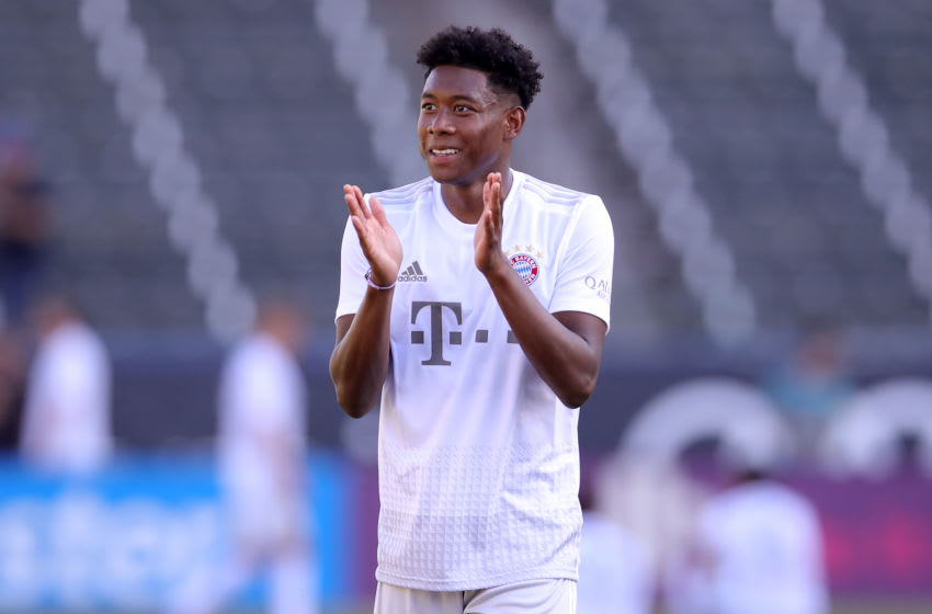 LOS ANGELES, CALIFORNIA - JULY 16: David Alaba of FC Bayern Muenchen reacts during a FC Bayern Muenchen training session at Dignity Health Sports Park on the second day of the FC Bayern Muenchen Audi Summer Tour 2019 on July 16, 2019 in Los Angeles, California. (Photo by Alexander Hassenstein/Bongarts/Getty Images)