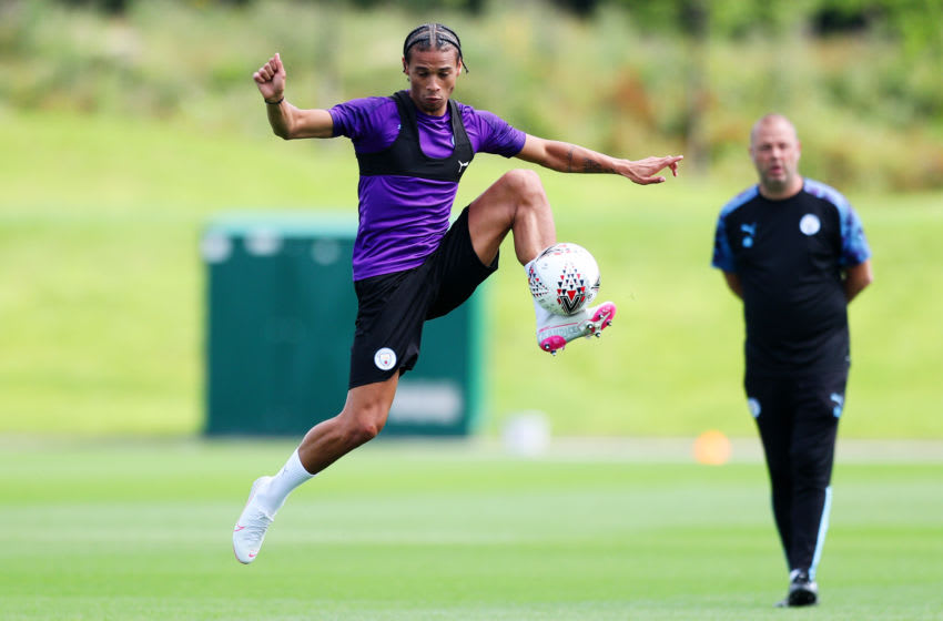 MANCHESTER, ENGLAND - AUGUST 02: Leroy Sane of Manchester City in action during the training session at Manchester City Football Academy on August 02, 2019 in Manchester, England. (Photo by Matt McNulty - Manchester City/Manchester City FC via Getty Images)