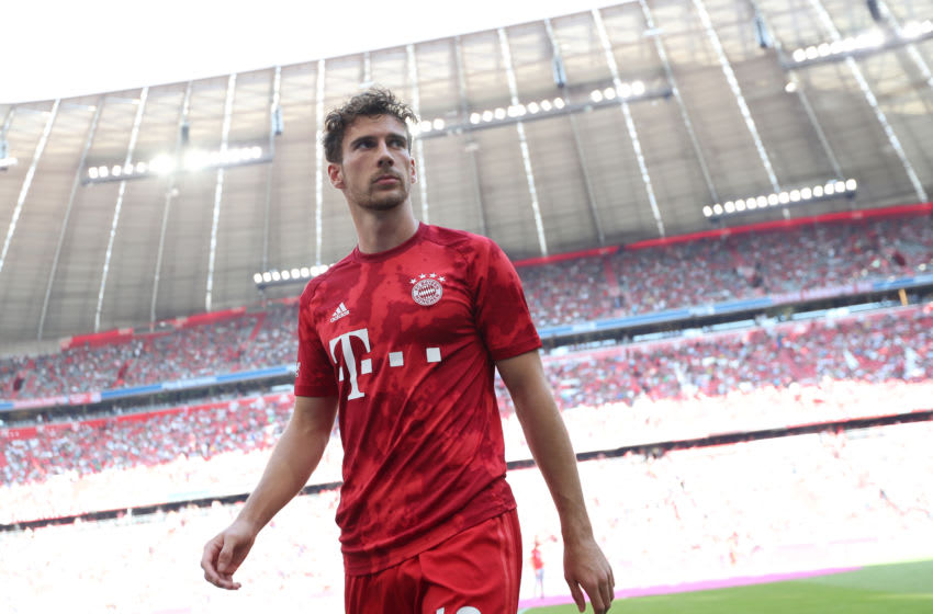 MUNICH, GERMANY - AUGUST 31: Leon Goretzka of FC Bayern Muenchen leaves the pitch after the warm-up session ahead of the Bundesliga match between FC Bayern Muenchen and 1. FSV Mainz 05 at Allianz Arena on August 31, 2019 in Munich, Germany. (Photo by A. Beier/Getty Images for FC Bayern)
