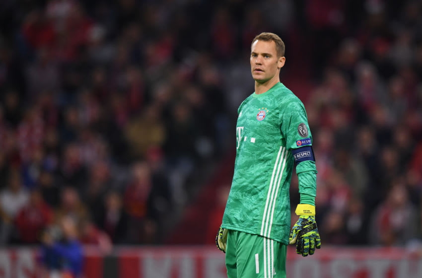 MUNICH, GERMANY - SEPTEMBER 18: Goalkeeper Manuel Neuer of Bayern Munich looks on during the UEFA Champions League group B match between Bayern Muenchen and Crvena Zvezda at Allianz Arena on September 18, 2019 in Munich, Germany. (Photo by Sebastian Widmann/Bongarts/Getty Images)
