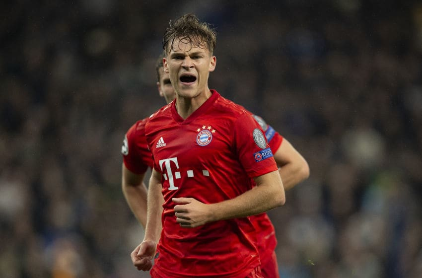 LONDON, ENGLAND - OCTOBER 01: Joshua Kimmich of Bayern Munich celebrates his goal during the UEFA Champions League group B match between Tottenham Hotspur and Bayern Munchen at Tottenham Hotspur Stadium on October 01, 2019 in London, United Kingdom. (Photo by Visionhaus)