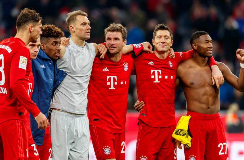 Leon Goretzka, Kingsley Coman, Manuel Neuer, Thomas Muller, Robert Lewandowski, and David Alaba featuring for Bayern Munich.(Photo by TF-Images/Getty Images)