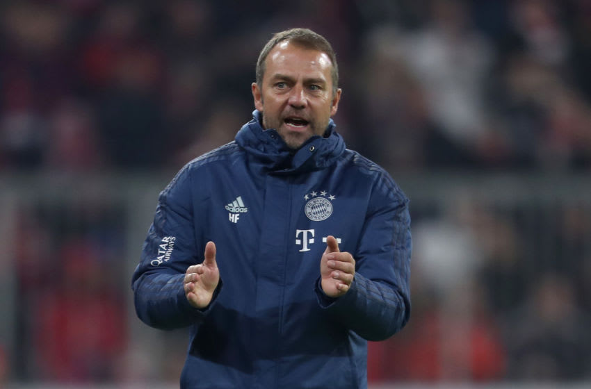 MUNICH, GERMANY - NOVEMBER 09: Team coach Hansi Flick of FC Bayern Muenchen reacts during the Bundesliga match between FC Bayern Muenchen and Borussia Dortmund at Allianz Arena on November 09, 2019 in Munich, Germany. (Photo by A. Beier/Getty Images for FC Bayern)