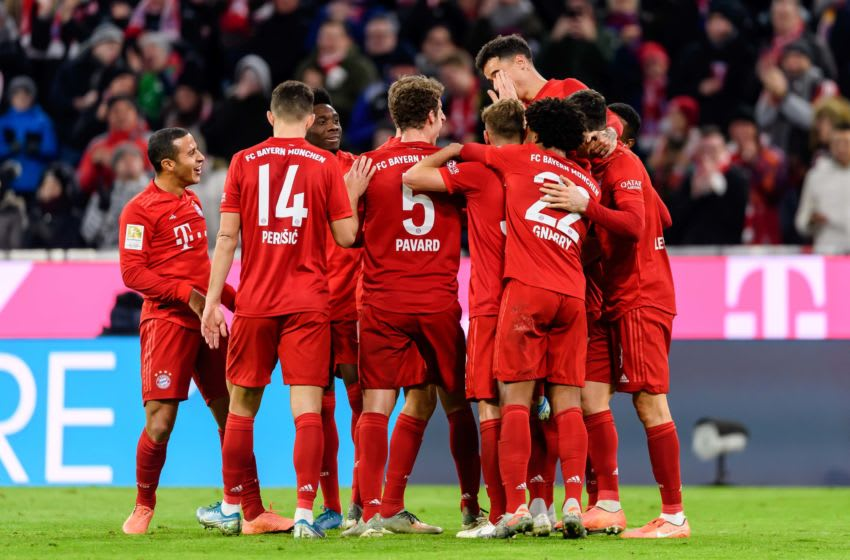 MUNICH, GERMANY - DECEMBER 14: (BILD ZEITUNG OUT) Philippe Coutinho of FC Bayern Muenchen celebrates after scoring his team's sixth goal with team mates during the Bundesliga match between FC Bayern Muenchen and SV Werder Bremen at Allianz Arena on December 14, 2019 in Munich, Germany. (Photo by TF-Images/Getty Images)