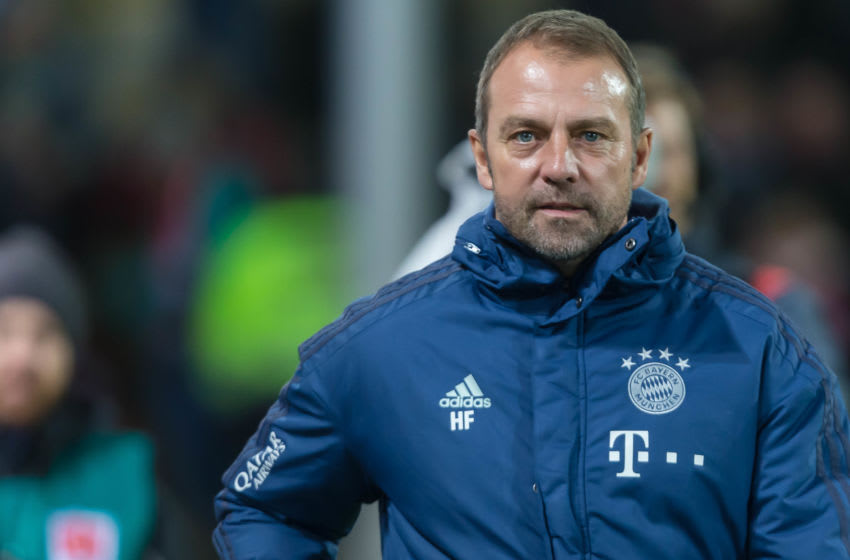 FREIBURG IM BREISGAU, GERMANY - DECEMBER 18: (BILD ZEITUNG OUT) head coach Hansi Flick of FC Bayern Muenchen looks on during the Bundesliga match between Sport-Club Freiburg and FC Bayern Muenchen at Schwarzwald-Stadion on December 18, 2019 in Freiburg im Breisgau, Germany. (Photo by TF-Images/Getty Images)