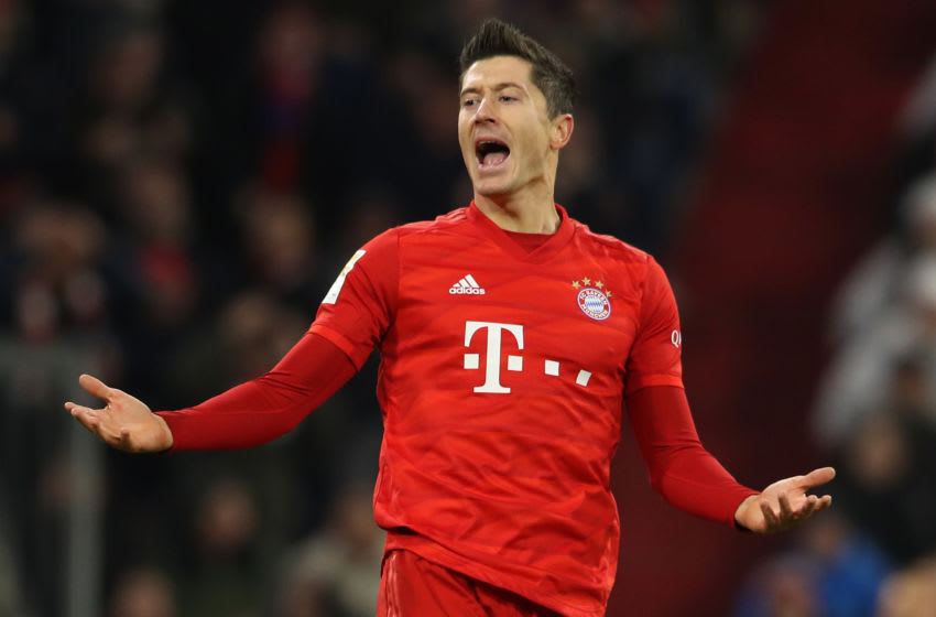 MUNICH, GERMANY - NOVEMBER 30: Robert Lewandowski of FC Bayern Muenchen reacts during the Bundesliga match between FC Bayern Muenchen and Bayer 04 Leverkusen at Allianz Arena on November 30, 2019 in Munich, Germany. (Photo by A. Hassenstein/Getty Images for FC Bayern)