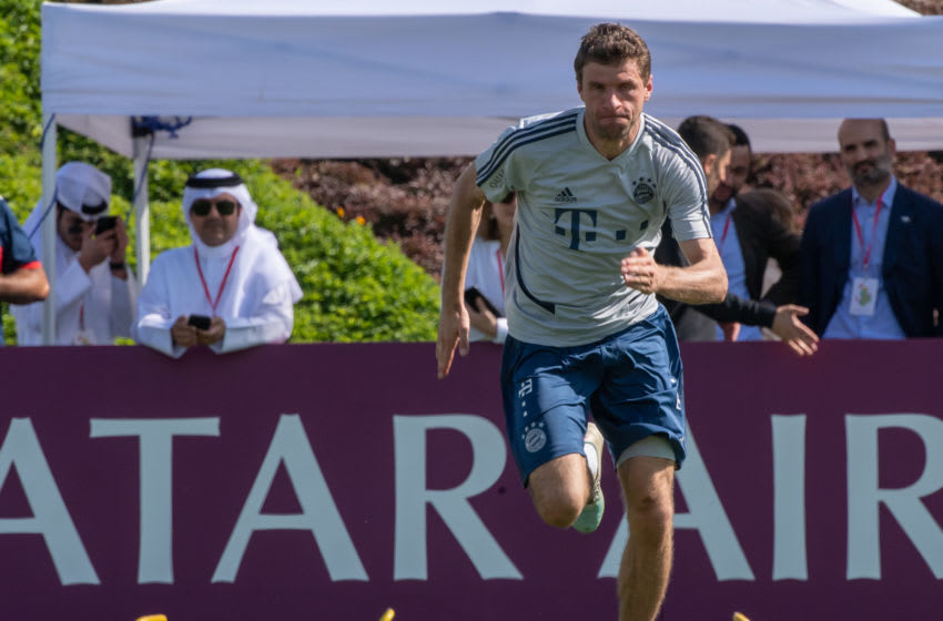 08 January 2020, Qatar, Doha: Thomas Müller trains during a practice session of FC Bayern Munich in the morning on the training ground. FC Bayern will be staying in the desert city for its training camp until 10.01.2020. Photo: Peter Kneffel/dpa - IMPORTANT NOTE: In accordance with the regulations of the DFL Deutsche Fußball Liga and the DFB Deutscher Fußball-Bund, it is prohibited to exploit or have exploited in the stadium and/or from the game taken photographs in the form of sequence images and/or video-like photo series. (Photo by Peter Kneffel/picture alliance via Getty Images)