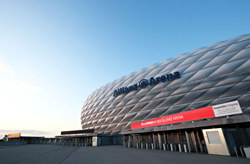 MUNICH, GERMANY - DECEMBER 10: A general view of the venue outside of the Allianz Arena on December 10, 2019 in Munich, Germany. (Photo by Adam Pretty/Getty Images)