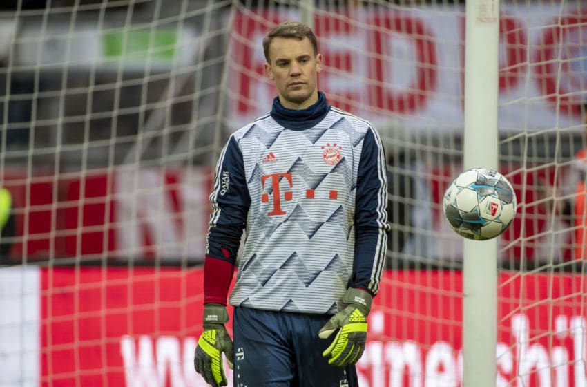 NUREMBERG, GERMANY - JANUARY 11: (BILD ZEITUNG OUT) goalkeeper Manuel Neuer of FC Bayern Muenchen looks on during a friendly match between 1. FC Nuernberg and FC Bayern Muenchen at Max-Morlock-Stadion on January 11, 2020 in Nuremberg, Germany. (Photo by TF-Images/Getty Images)