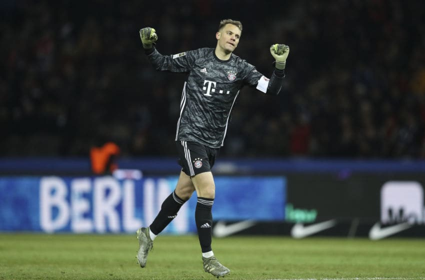 BERLIN, GERMANY - JANUARY 19: Manuel Neuer of Bayern Munich reacts after the Bundesliga match between Hertha BSC and FC Bayern Muenchen at Olympiastadion on January 19, 2020 in Berlin, Germany. (Photo by Maja Hitij/Bongarts/Getty Images)