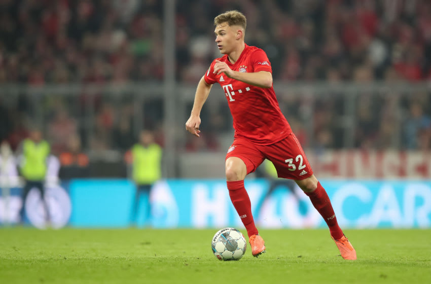 MUNICH, GERMANY - JANUARY 25: Joshua Kimmich of FC Bayern Muenchen in action during the Bundesliga match between FC Bayern Muenchen and FC Schalke 04 at Allianz Arena on January 25, 2020 in Munich, Germany. (Photo by Christian Kaspar-Bartke/Bongarts/Getty Images)