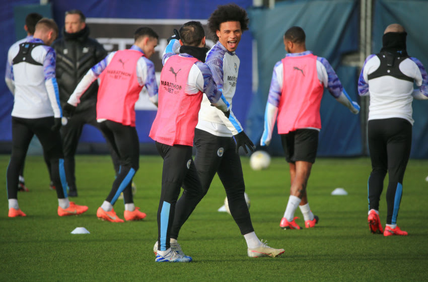 MANCHESTER, ENGLAND - JANUARY 28: Manchester City's Leroy Sane in action during training at Manchester City Football Academy on January 28, 2020 in Manchester, England. (Photo by Tom Flathers/Manchester City FC via Getty Images)