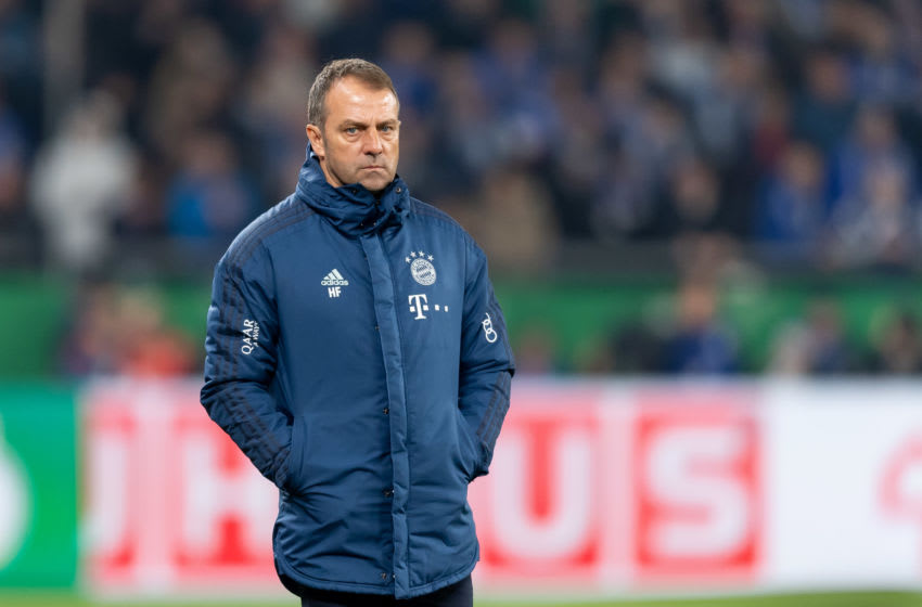 GELSENKIRCHEN, GERMANY - MARCH 03: (BILD ZEITUNG OUT) head coach Hansi Flick of Bayern Muenchen looks on during the DFB Cup quarterfinal match between FC Schalke 04 and FC Bayern Muenchen at Veltins Arena on March 3, 2020 in Gelsenkirchen, Germany. (Photo by Max Maiwald/DeFodi Images via Getty Images)