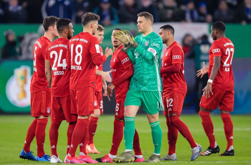 (L-R) Benjamin Pavard of FC Bayern Munich, Corentin Tolisso of FC Bayern Munich, Leon Goretzka of FC Bayern Munich, Joshua Kimmich of FC Bayern Munich, Thiago Alcantara do Nascimento of FC Bayern Munich, goalkeeper Manuel Neuer of FC Bayern Munich, Serge Gnabry of FC Bayern Munich, David Alaba of FC Bayern Munich during the German DFB Pokal quarter final match between FC Schalke 04 and Bayern Munich at the Veltins Arena on March 03, 2020 in Gelsenkirchen, Germany(Photo by ANP Sport via Getty Images)